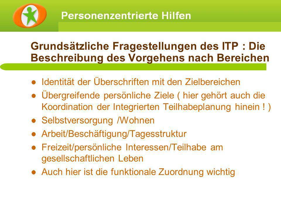 Grundsätzliche Fragestellungen des ITP : Die Beschreibung des Vorgehens nach Bereichen Identität der Überschriften mit den Zielbereichen Übergreifende