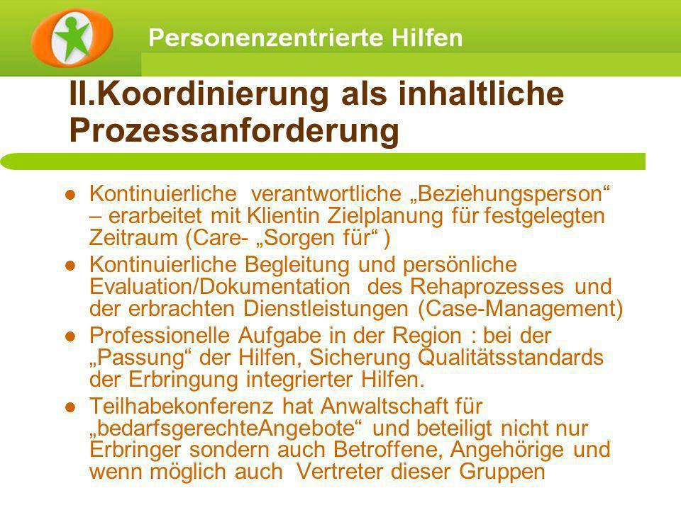 II.Koordinierung als inhaltliche Prozessanforderung Kontinuierliche verantwortliche Beziehungsperson – erarbeitet mit Klientin Zielplanung für festgel