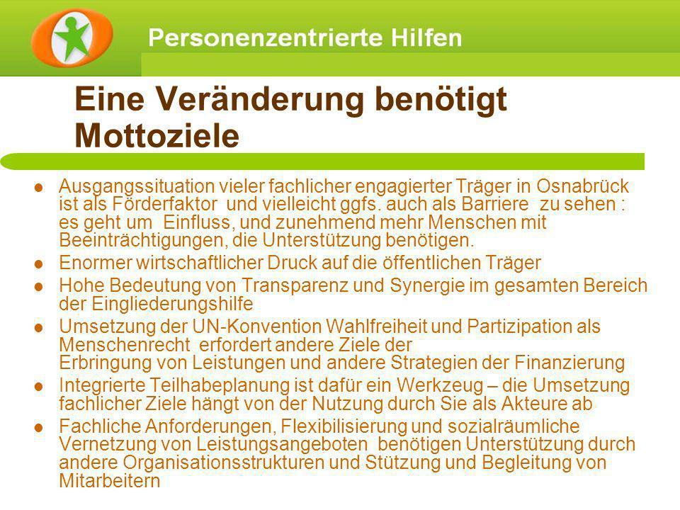 Eine Veränderung benötigt Mottoziele Ausgangssituation vieler fachlicher engagierter Träger in Osnabrück ist als Förderfaktor und vielleicht ggfs. auc