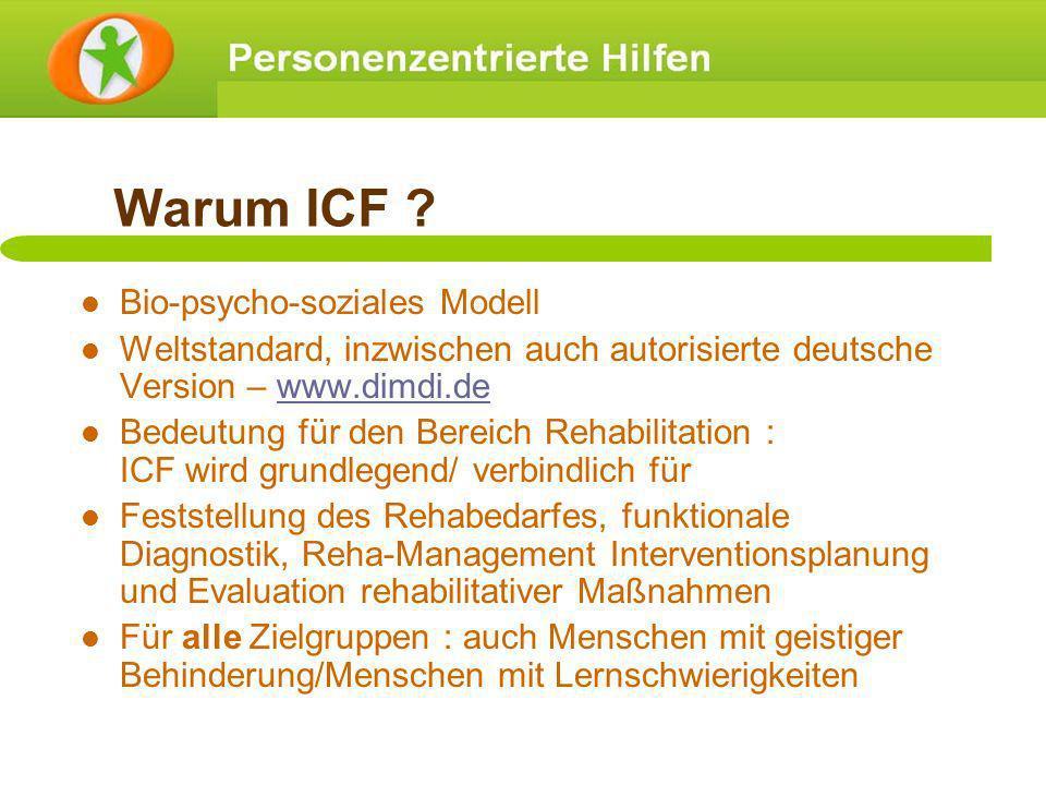 Warum ICF ? Bio-psycho-soziales Modell Weltstandard, inzwischen auch autorisierte deutsche Version – www.dimdi.dewww.dimdi.de Bedeutung für den Bereic