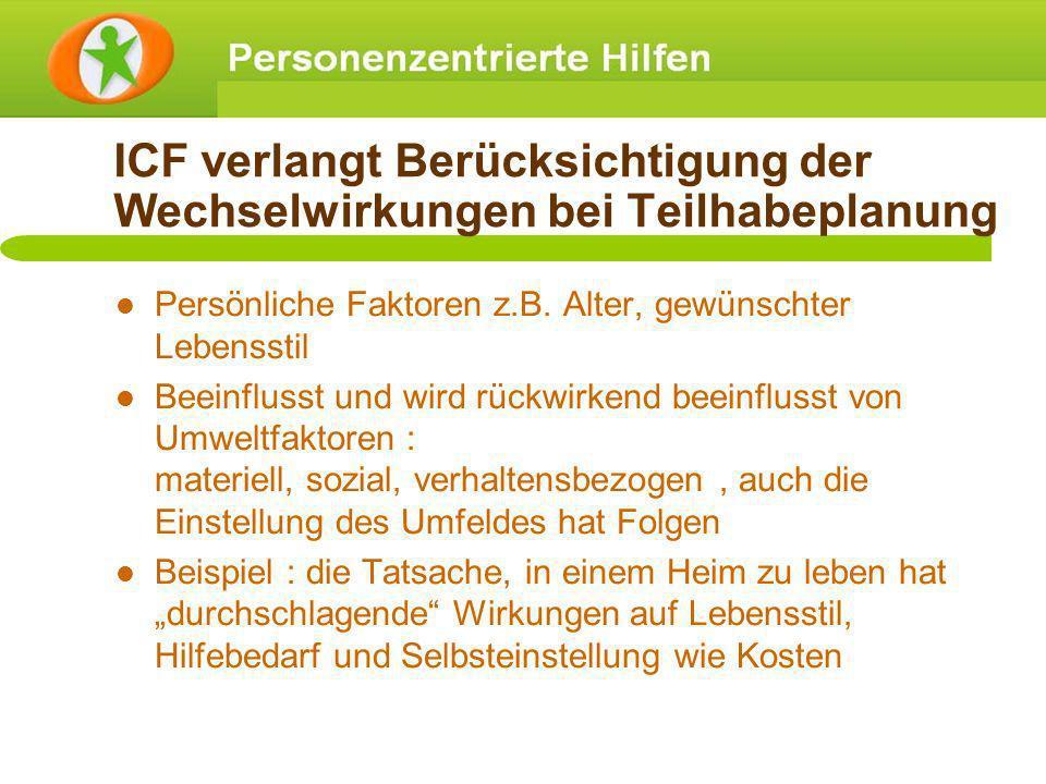 ICF verlangt Berücksichtigung der Wechselwirkungen bei Teilhabeplanung Persönliche Faktoren z.B. Alter, gewünschter Lebensstil Beeinflusst und wird rü