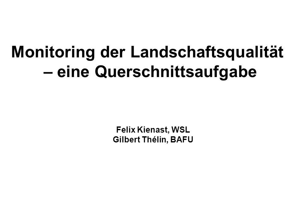 Monitoring der Landschaftsqualität Eine gemeinsame Forschungs-Umsetzungsplattform BAFU-WSL 12.9.2007, Felix Kienast WSL & Gilbert Thélin BAFU 2 Monitoring der Landschaftsqualität – eine Querschnittsaufgabe Felix Kienast, WSL Gilbert Thélin, BAFU