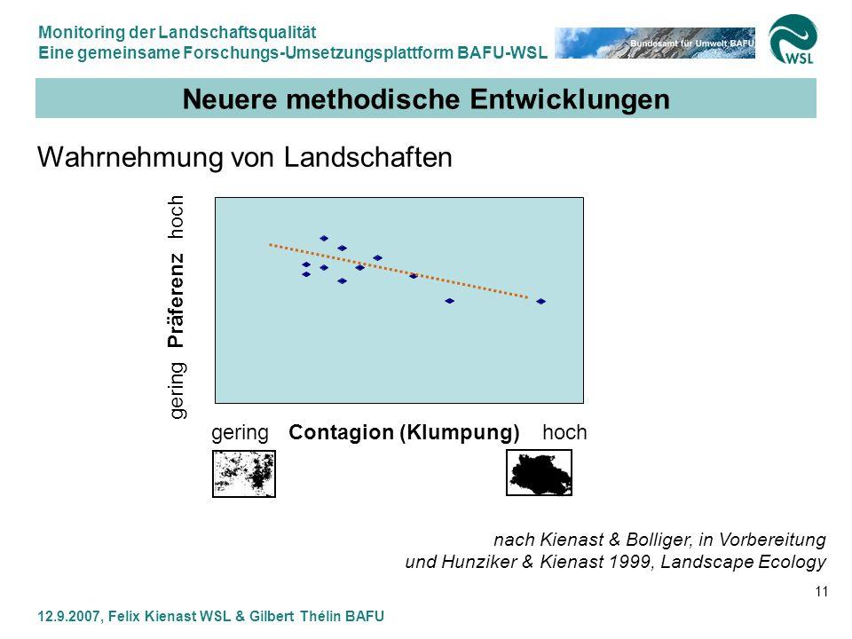 Monitoring der Landschaftsqualität Eine gemeinsame Forschungs-Umsetzungsplattform BAFU-WSL 12.9.2007, Felix Kienast WSL & Gilbert Thélin BAFU 11 Neuer