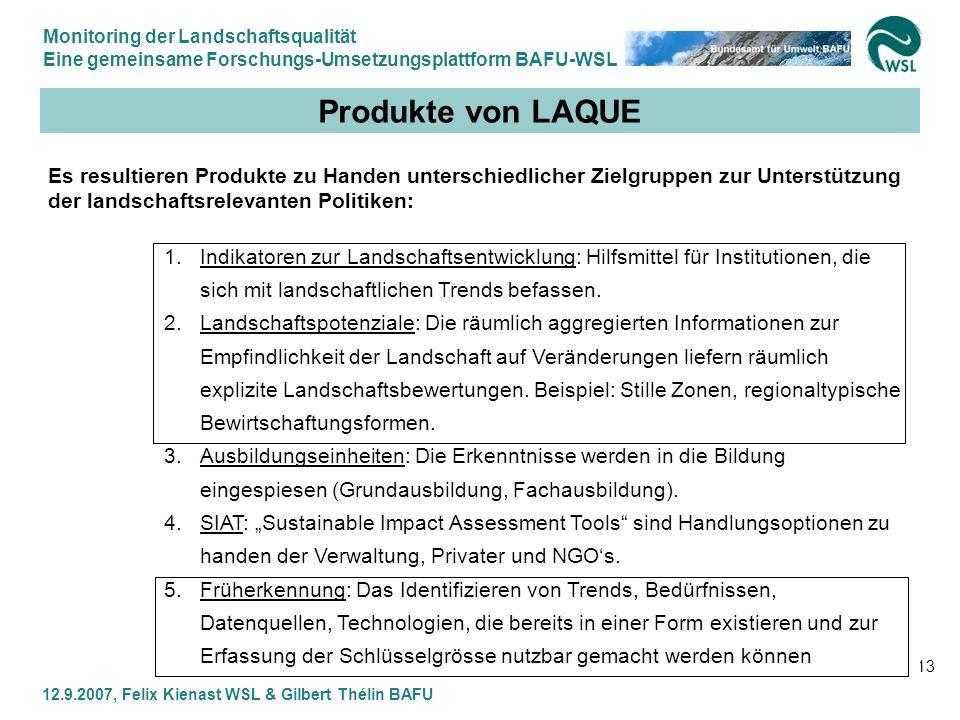 Monitoring der Landschaftsqualität Eine gemeinsame Forschungs-Umsetzungsplattform BAFU-WSL 12.9.2007, Felix Kienast WSL & Gilbert Thélin BAFU 13 Produ
