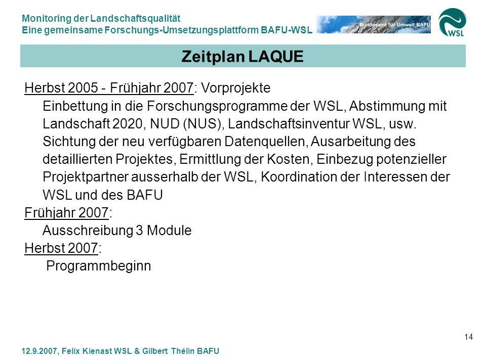 Monitoring der Landschaftsqualität Eine gemeinsame Forschungs-Umsetzungsplattform BAFU-WSL 12.9.2007, Felix Kienast WSL & Gilbert Thélin BAFU 14 Zeitp