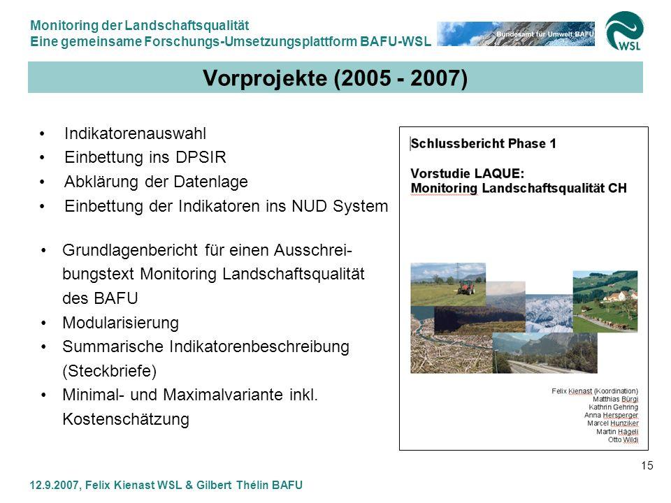 Monitoring der Landschaftsqualität Eine gemeinsame Forschungs-Umsetzungsplattform BAFU-WSL 12.9.2007, Felix Kienast WSL & Gilbert Thélin BAFU 15 Vorpr