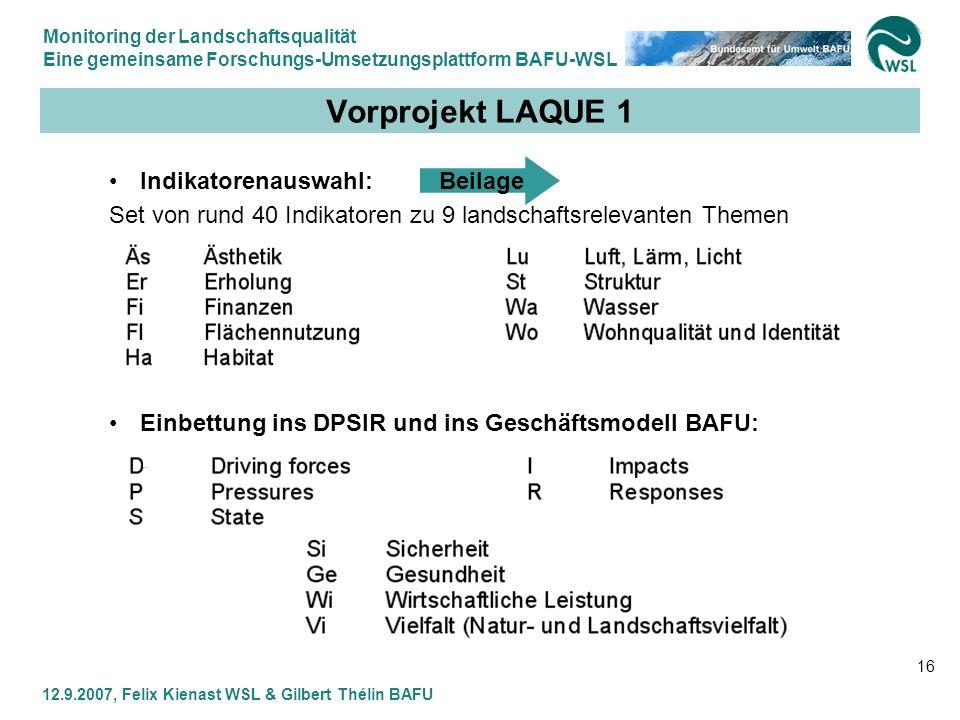 Monitoring der Landschaftsqualität Eine gemeinsame Forschungs-Umsetzungsplattform BAFU-WSL 12.9.2007, Felix Kienast WSL & Gilbert Thélin BAFU 16 Vorpr