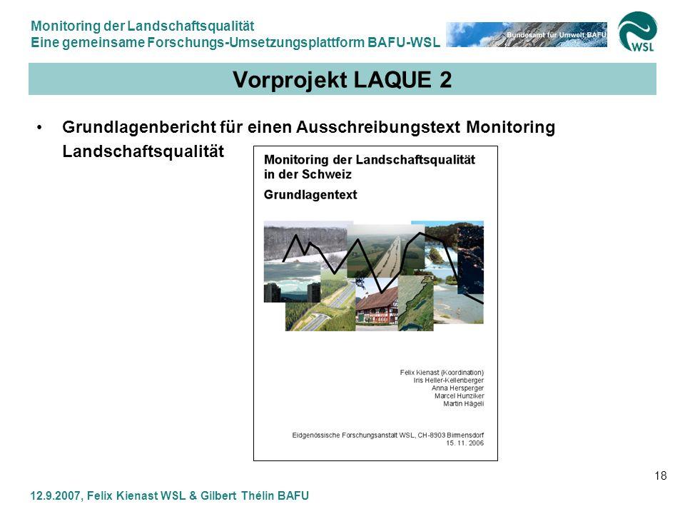 Monitoring der Landschaftsqualität Eine gemeinsame Forschungs-Umsetzungsplattform BAFU-WSL 12.9.2007, Felix Kienast WSL & Gilbert Thélin BAFU 18 Vorpr