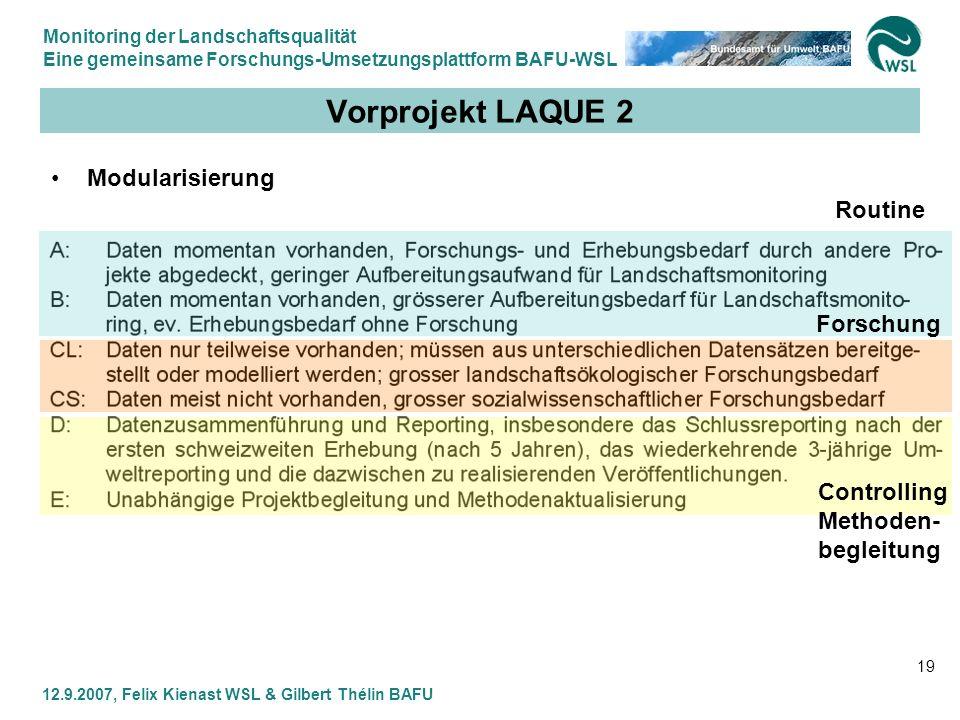 Monitoring der Landschaftsqualität Eine gemeinsame Forschungs-Umsetzungsplattform BAFU-WSL 12.9.2007, Felix Kienast WSL & Gilbert Thélin BAFU 19 Vorpr