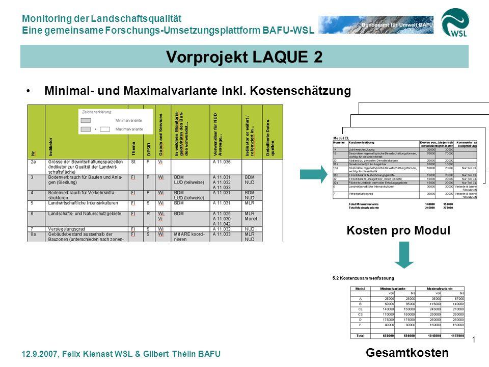 Monitoring der Landschaftsqualität Eine gemeinsame Forschungs-Umsetzungsplattform BAFU-WSL 12.9.2007, Felix Kienast WSL & Gilbert Thélin BAFU 21 Vorpr