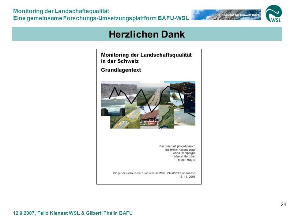 Monitoring der Landschaftsqualität Eine gemeinsame Forschungs-Umsetzungsplattform BAFU-WSL 12.9.2007, Felix Kienast WSL & Gilbert Thélin BAFU 24 Herzl