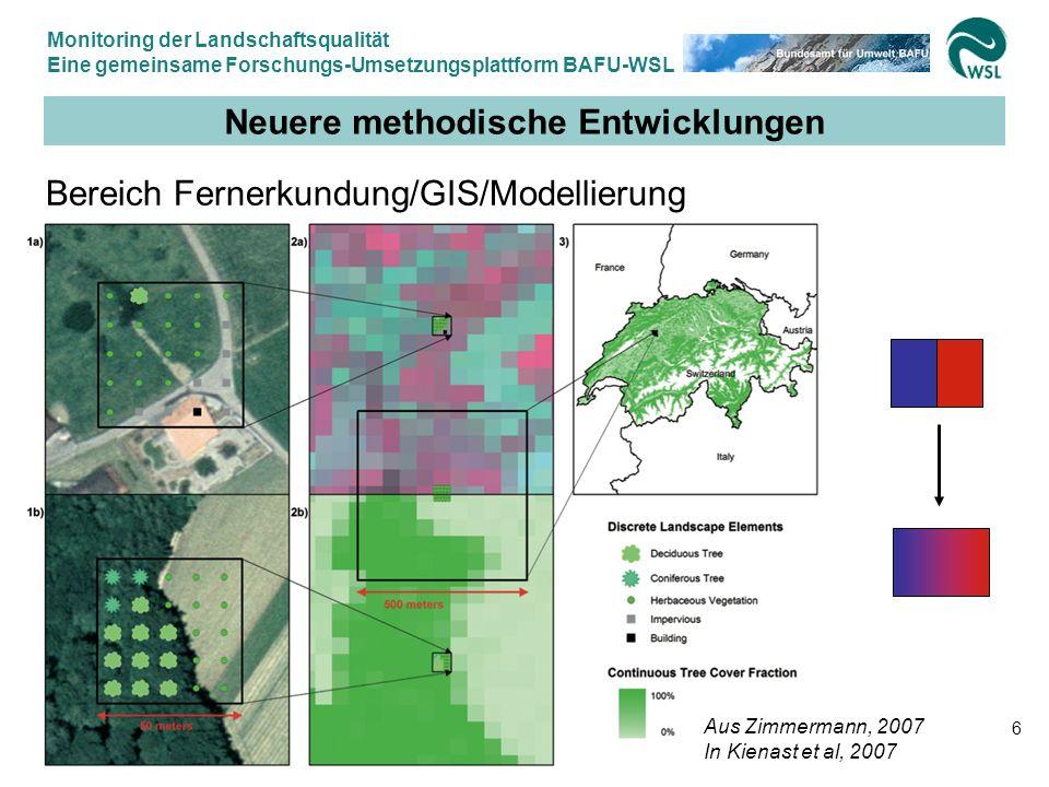Monitoring der Landschaftsqualität Eine gemeinsame Forschungs-Umsetzungsplattform BAFU-WSL 12.9.2007, Felix Kienast WSL & Gilbert Thélin BAFU 17 Vorprojekt LAQUE 1 Abklärung der Datenlage Einbettung der Indikatoren ins NUD System:
