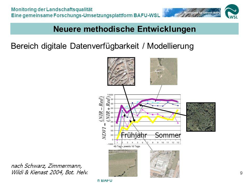 Monitoring der Landschaftsqualität Eine gemeinsame Forschungs-Umsetzungsplattform BAFU-WSL 12.9.2007, Felix Kienast WSL & Gilbert Thélin BAFU 9 Neuere