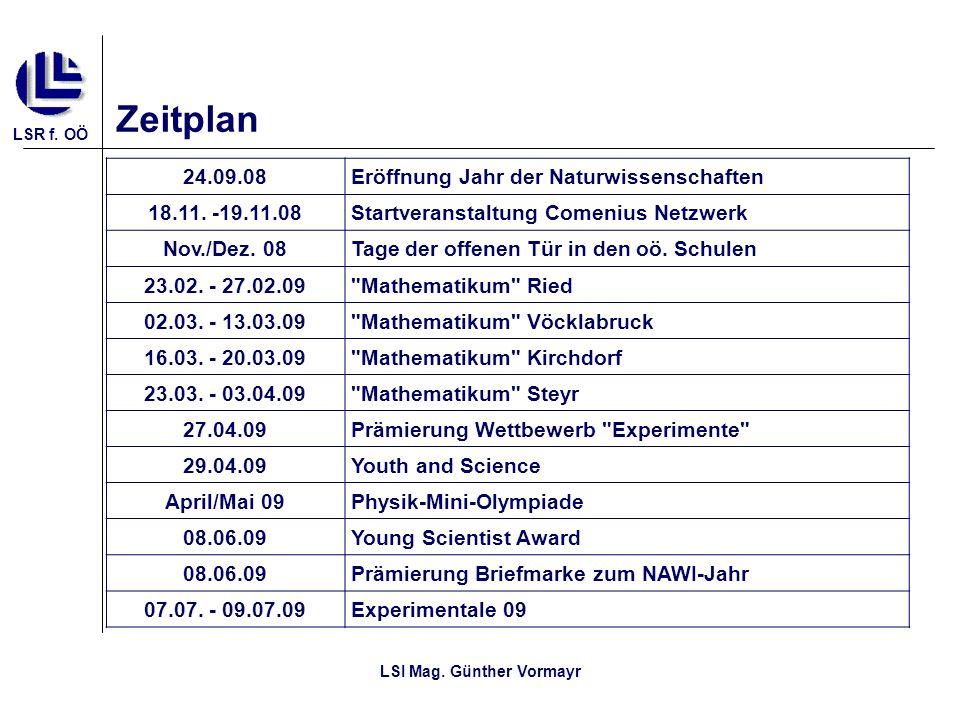 LSR f. OÖ LSI Mag. Günther Vormayr Zeitplan 24.09.08Eröffnung Jahr der Naturwissenschaften 18.11. -19.11.08Startveranstaltung Comenius Netzwerk Nov./D