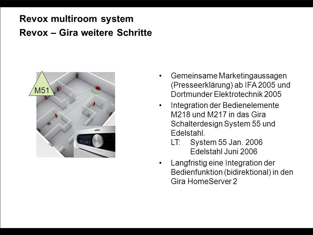 Revox multiroom system Revox – Gira weitere Schritte Gemeinsame Marketingaussagen (Presseerklärung) ab IFA 2005 und Dortmunder Elektrotechnik 2005 Int