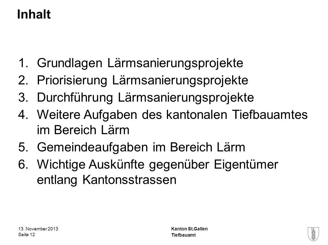 Kanton St.Gallen Inhalt 1.Grundlagen Lärmsanierungsprojekte 2.Priorisierung Lärmsanierungsprojekte 3.Durchführung Lärmsanierungsprojekte 4.Weitere Auf