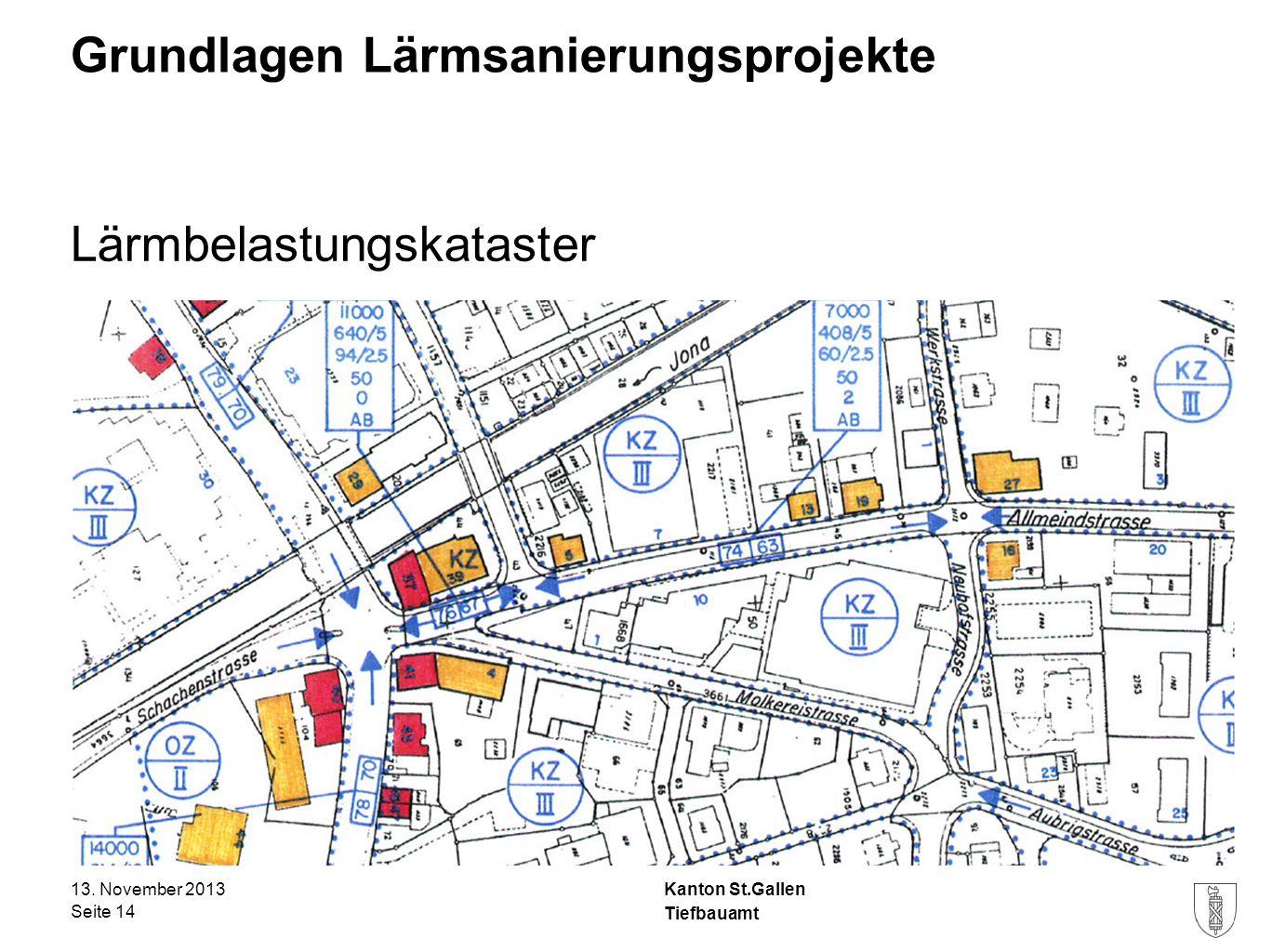 Kanton St.Gallen Grundlagen Lärmsanierungsprojekte Lärmbelastungskataster 13. November 2013 Seite 14 Tiefbauamt