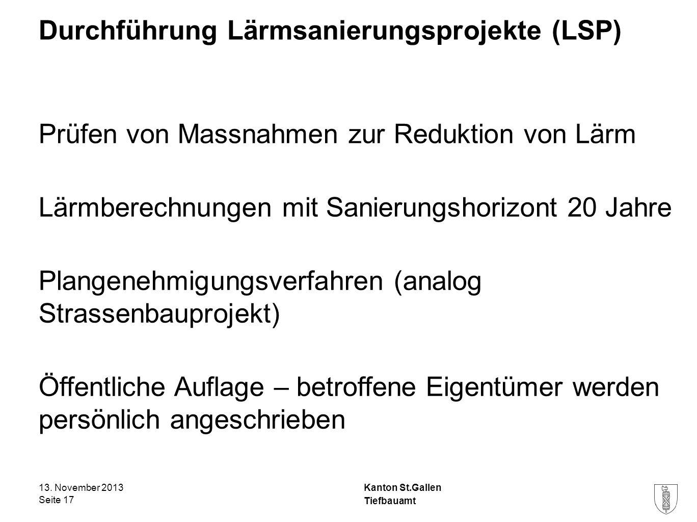 Kanton St.Gallen Durchführung Lärmsanierungsprojekte (LSP) Prüfen von Massnahmen zur Reduktion von Lärm Lärmberechnungen mit Sanierungshorizont 20 Jah