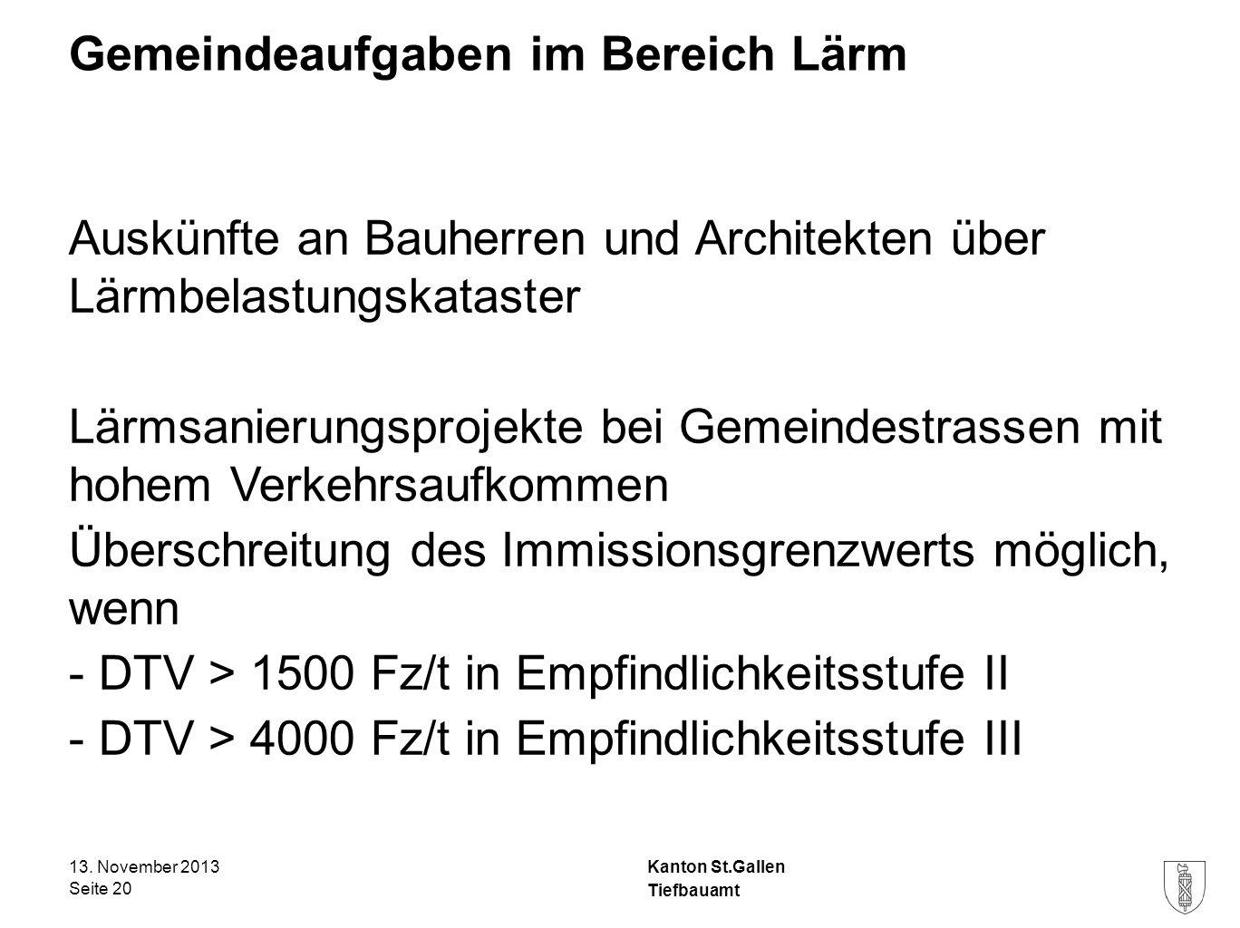 Kanton St.Gallen Gemeindeaufgaben im Bereich Lärm Auskünfte an Bauherren und Architekten über Lärmbelastungskataster Lärmsanierungsprojekte bei Gemein