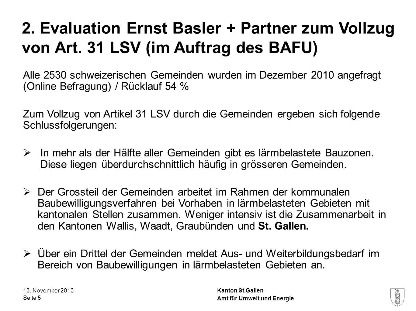 Kanton St.Gallen 2. Evaluation Ernst Basler + Partner zum Vollzug von Art. 31 LSV (im Auftrag des BAFU) Alle 2530 schweizerischen Gemeinden wurden im