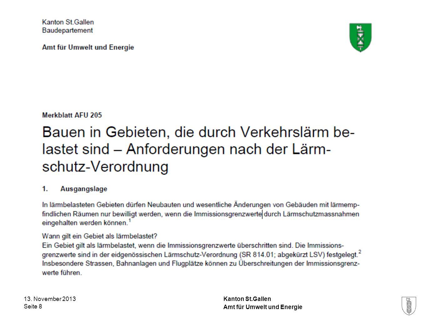 Kanton St.Gallen 13. November 2013 Seite 8 Amt für Umwelt und Energie