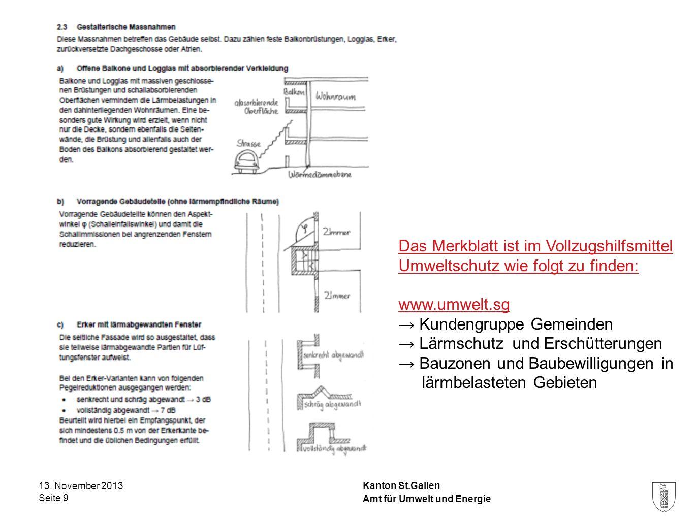 Kanton St.Gallen 13. November 2013 Seite 9 Amt für Umwelt und Energie Das Merkblatt ist im Vollzugshilfsmittel Umweltschutz wie folgt zu finden: www.u