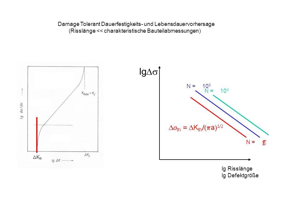 Damage Tolerant Dauerfestigkeits- und Lebensdauervorhersage (Risslänge << charakteristische Bauteilabmessungen) K th lg Risslänge lg Defektgröße lg th