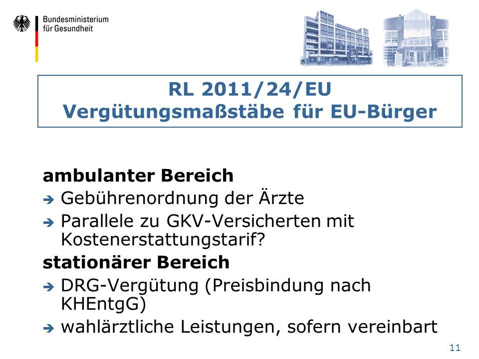 11 RL 2011/24/EU Vergütungsmaßstäbe für EU-Bürger ambulanter Bereich è Gebührenordnung der Ärzte è Parallele zu GKV-Versicherten mit Kostenerstattungs