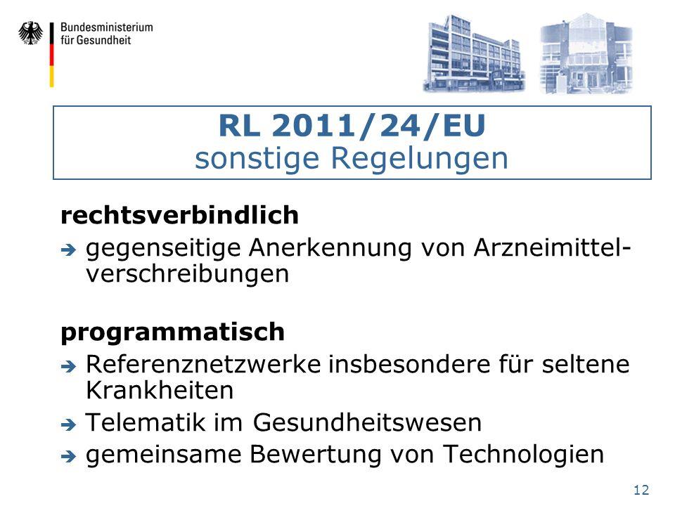 12 RL 2011/24/EU sonstige Regelungen rechtsverbindlich è gegenseitige Anerkennung von Arzneimittel- verschreibungen programmatisch è Referenznetzwerke