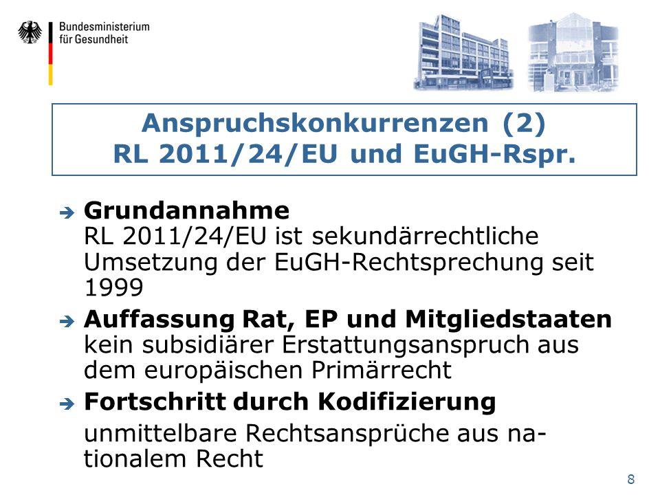 8 Anspruchskonkurrenzen (2) RL 2011/24/EU und EuGH-Rspr. è Grundannahme RL 2011/24/EU ist sekundärrechtliche Umsetzung der EuGH-Rechtsprechung seit 19