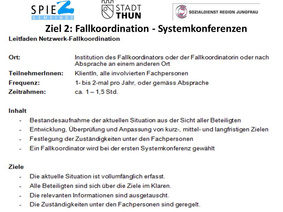 Ziel 2: Fallkoordination - Systemkonferenzen 14Soziale Dienste Spiez