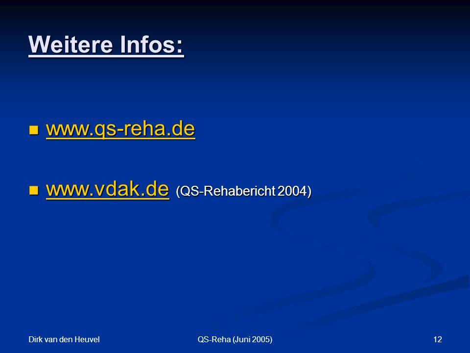 Dirk van den Heuvel 12QS-Reha (Juni 2005) Weitere Infos: www.qs-reha.de www.qs-reha.de www.qs-reha.de www.vdak.de (QS-Rehabericht 2004) www.vdak.de (QS-Rehabericht 2004) www.vdak.de