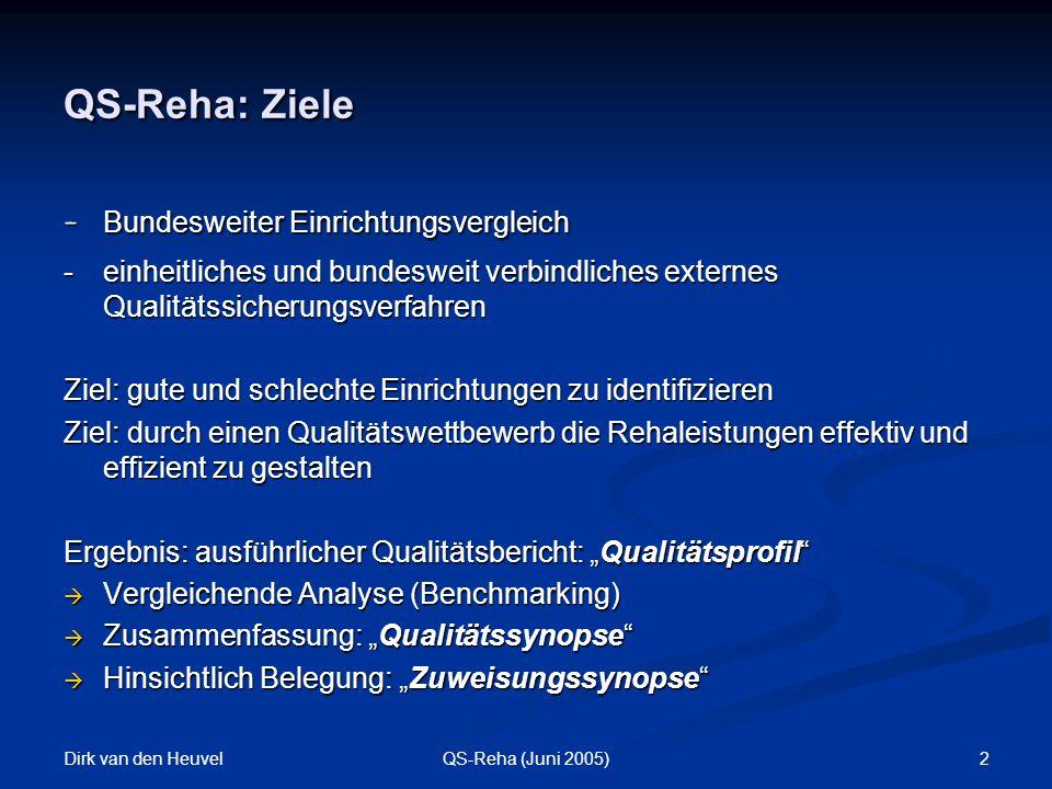 Dirk van den Heuvel 2QS-Reha (Juni 2005) QS-Reha: Ziele - Bundesweiter Einrichtungsvergleich - einheitliches und bundesweit verbindliches externes Qualitätssicherungsverfahren Ziel: gute und schlechte Einrichtungen zu identifizieren Ziel: durch einen Qualitätswettbewerb die Rehaleistungen effektiv und effizient zu gestalten Ergebnis: ausführlicher Qualitätsbericht: Qualitätsprofil Vergleichende Analyse (Benchmarking) Vergleichende Analyse (Benchmarking) Zusammenfassung: Qualitätssynopse Zusammenfassung: Qualitätssynopse Hinsichtlich Belegung: Zuweisungssynopse Hinsichtlich Belegung: Zuweisungssynopse