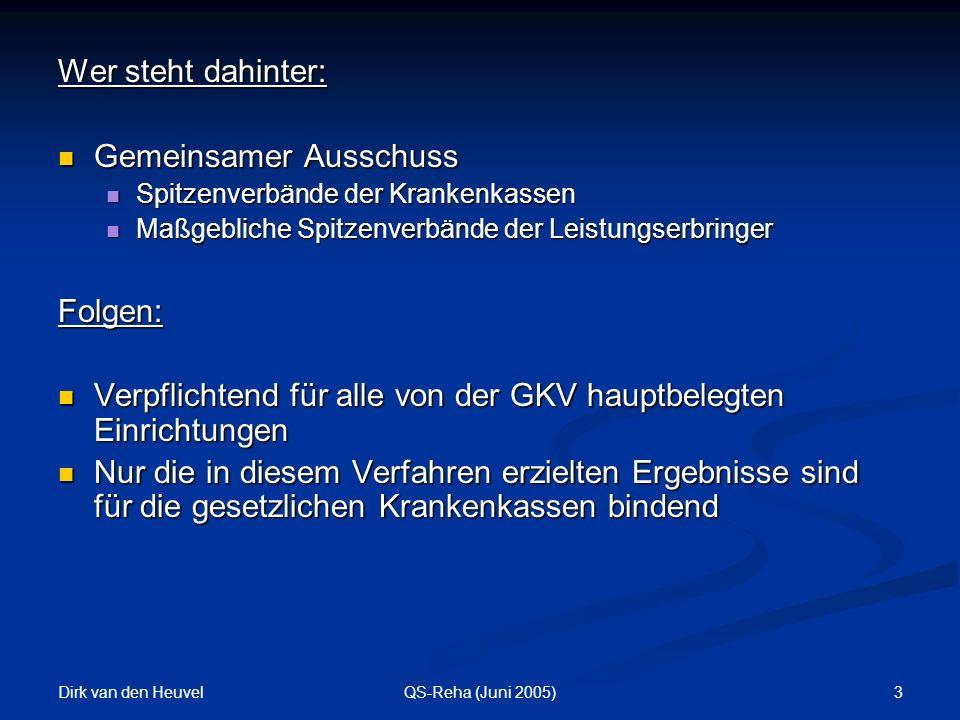 Dirk van den Heuvel 3QS-Reha (Juni 2005) Wer steht dahinter: Gemeinsamer Ausschuss Gemeinsamer Ausschuss Spitzenverbände der Krankenkassen Spitzenverbände der Krankenkassen Maßgebliche Spitzenverbände der Leistungserbringer Maßgebliche Spitzenverbände der LeistungserbringerFolgen: Verpflichtend für alle von der GKV hauptbelegten Einrichtungen Verpflichtend für alle von der GKV hauptbelegten Einrichtungen Nur die in diesem Verfahren erzielten Ergebnisse sind für die gesetzlichen Krankenkassen bindend Nur die in diesem Verfahren erzielten Ergebnisse sind für die gesetzlichen Krankenkassen bindend