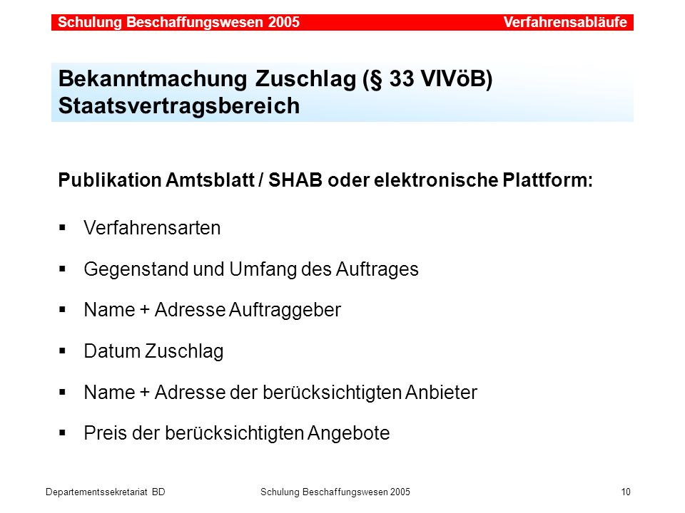 Departementssekretariat BDSchulung Beschaffungswesen 2005 10 Bekanntmachung Zuschlag (§ 33 VIVöB) Staatsvertragsbereich Publikation Amtsblatt / SHAB o