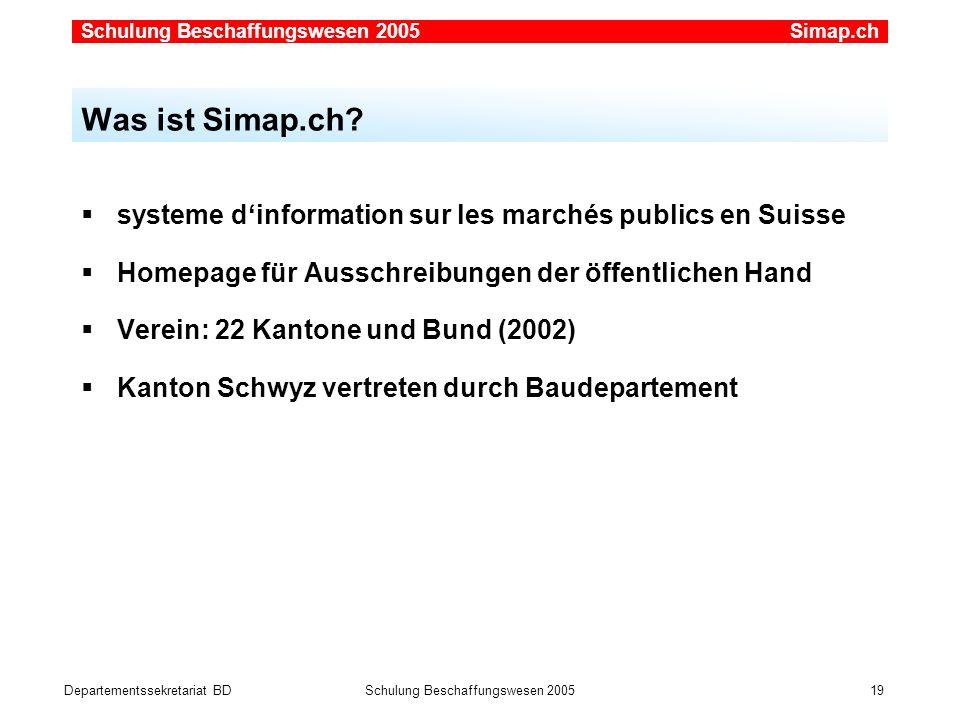 Departementssekretariat BDSchulung Beschaffungswesen 2005 19 systeme dinformation sur les marchés publics en Suisse Homepage für Ausschreibungen der ö