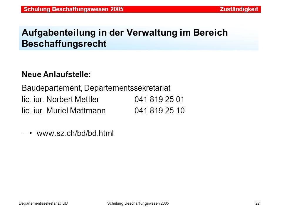 Departementssekretariat BDSchulung Beschaffungswesen 2005 22 Neue Anlaufstelle: Baudepartement, Departementssekretariat lic. iur. Norbert Mettler041 8
