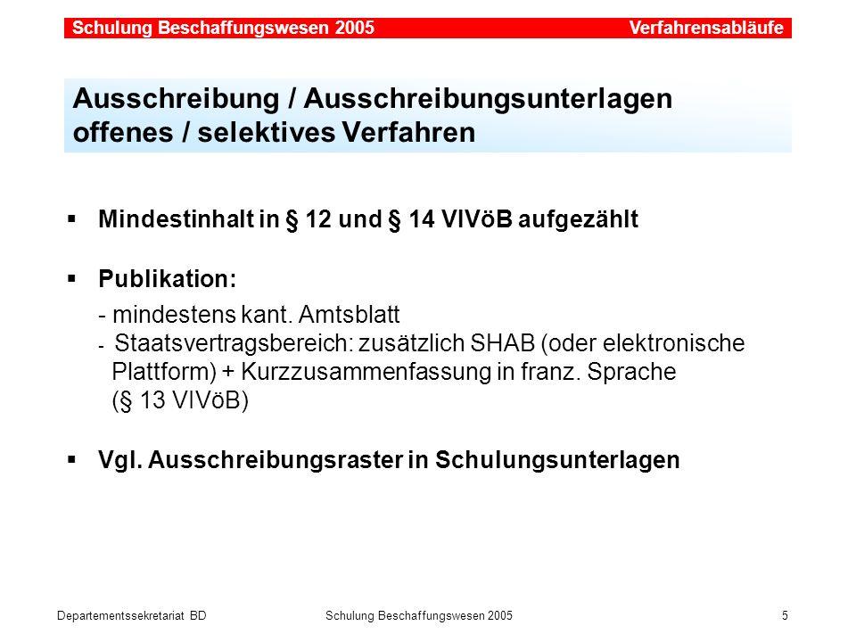 Departementssekretariat BDSchulung Beschaffungswesen 2005 5 Mindestinhalt in § 12 und § 14 VIVöB aufgezählt Publikation: - mindestens kant. Amtsblatt