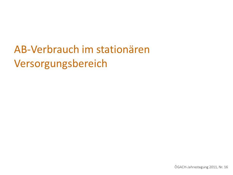 AB-Verbrauch im stationären Versorgungsbereich ÖGACH-Jahrestagung 2011, Nr. 16