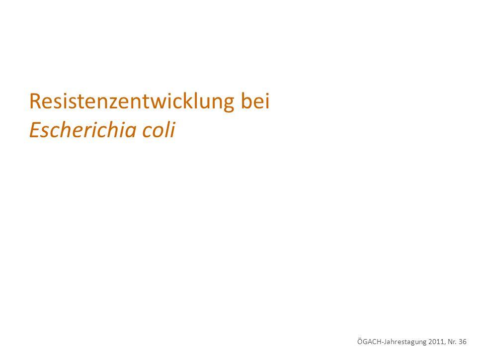 Resistenzentwicklung bei Escherichia coli ÖGACH-Jahrestagung 2011, Nr. 36