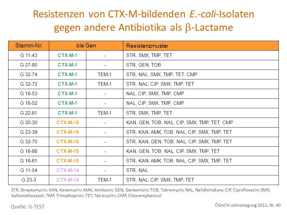 Stamm-Nr.bla Gen Resistenzmuster G 11-43CTX-M-1-STR, SMX, TMP, TET G 27-80CTX-M-1-STR, GEN, TOB G 32-74CTX-M-1TEM-1STR, NAL, SMX, TMP, TET, CMP G 32-72CTX-M-1TEM-1STR, NAL, CIP, SMX, TMP, TET G 18-53CTX-M-1-NAL, CIP, SMX, TMP, CMP G 18-52CTX-M-1-NAL, CIP, SMX, TMP, CMP G 22-81CTX-M-1TEM-1STR, SMX, TMP, TET G 30-30CTX-M-15-KAN, GEN, TOB, NAL, CIP, SMX, TMP, TET, CMP G 23-39CTX-M-15-STR, KAN, AMK, TOB, NAL, CIP, SMX, TMP, TET G 32-70CTX-M-15-STR, KAN, GEN, TOB, NAL, CIP, SMX, TMP, TET G 16-68CTX-M-15-KAN, GEN, TOB, NAL, CIP, SMX, TMP, TET G 16-61CTX-M-15-STR, KAN, AMK, TOB, NAL, CIP, SMX, TMP, TET G 11-54CTX-M-14-STR, NAL G 23-3CTX-M-14TEM-1STR, NAL, CIP, SMX, TMP, TET Resistenzen von CTX-M-bildenden E.-coli-Isolaten gegen andere Antibiotika als -Lactame STR, Streptomycin; KAN, Kanamycin; AMK, Amikacin; GEN, Gentamicin; TOB, Tobramycin; NAL, Nalidixinsäure; CIP, Ciprofloxacin; SMX, Sulfamethoxazol; TMP, Trimethoprim; TET, Tetracyclin; CMP, Chloramphenicol Quelle: G-TEST ÖGACH-Jahrestagung 2011, Nr.