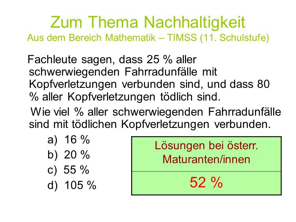 Zum Thema Nachhaltigkeit Aus dem Bereich Mathematik – TIMSS (11. Schulstufe) Fachleute sagen, dass 25 % aller schwerwiegenden Fahrradunfälle mit Kopfv