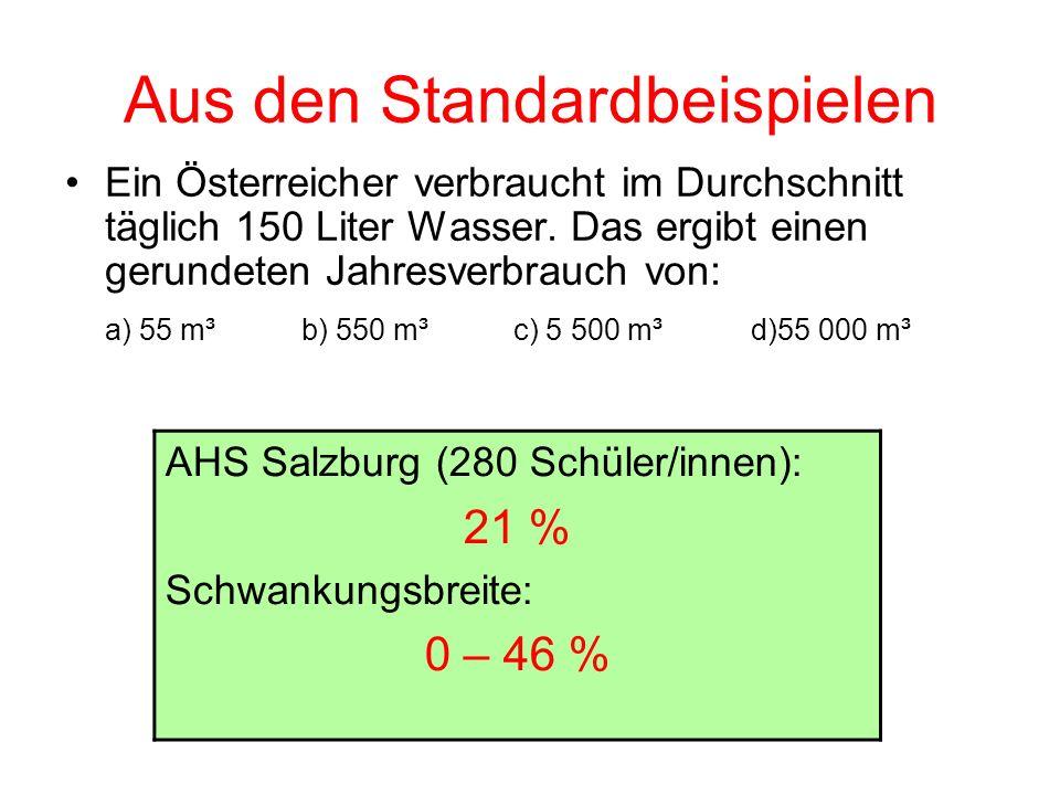 Aus den Standardbeispielen Ein Österreicher verbraucht im Durchschnitt täglich 150 Liter Wasser. Das ergibt einen gerundeten Jahresverbrauch von: a) 5