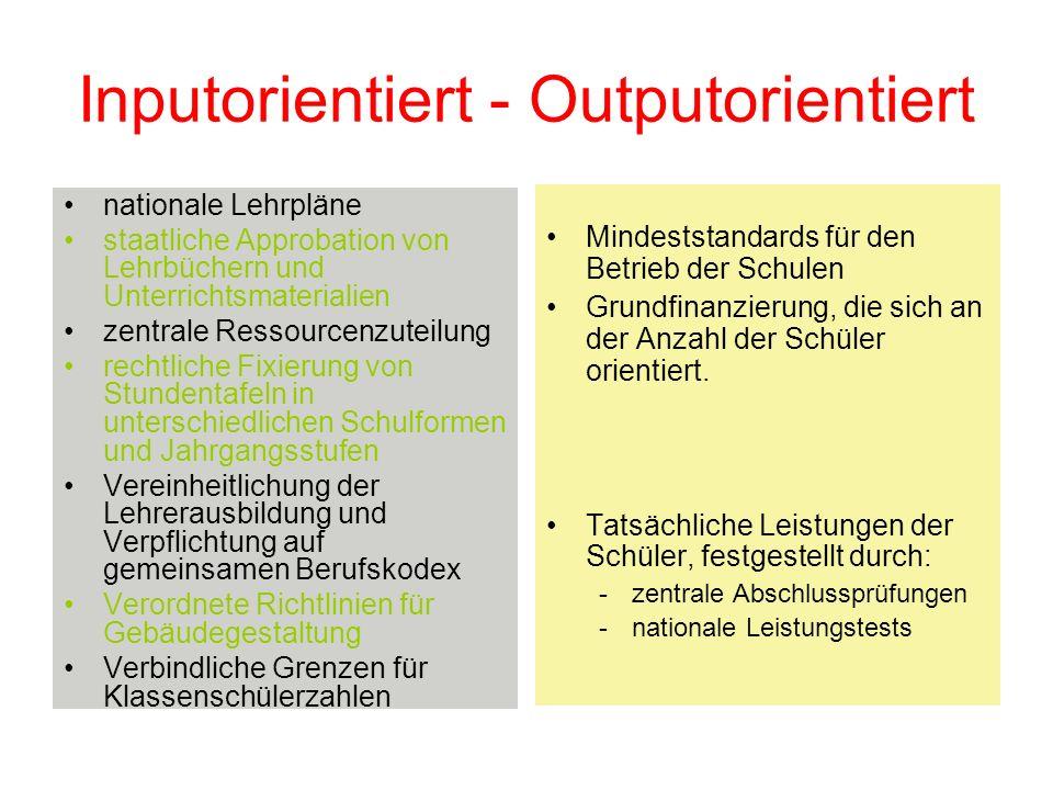 Inputorientiert - Outputorientiert nationale Lehrpläne staatliche Approbation von Lehrbüchern und Unterrichtsmaterialien zentrale Ressourcenzuteilung