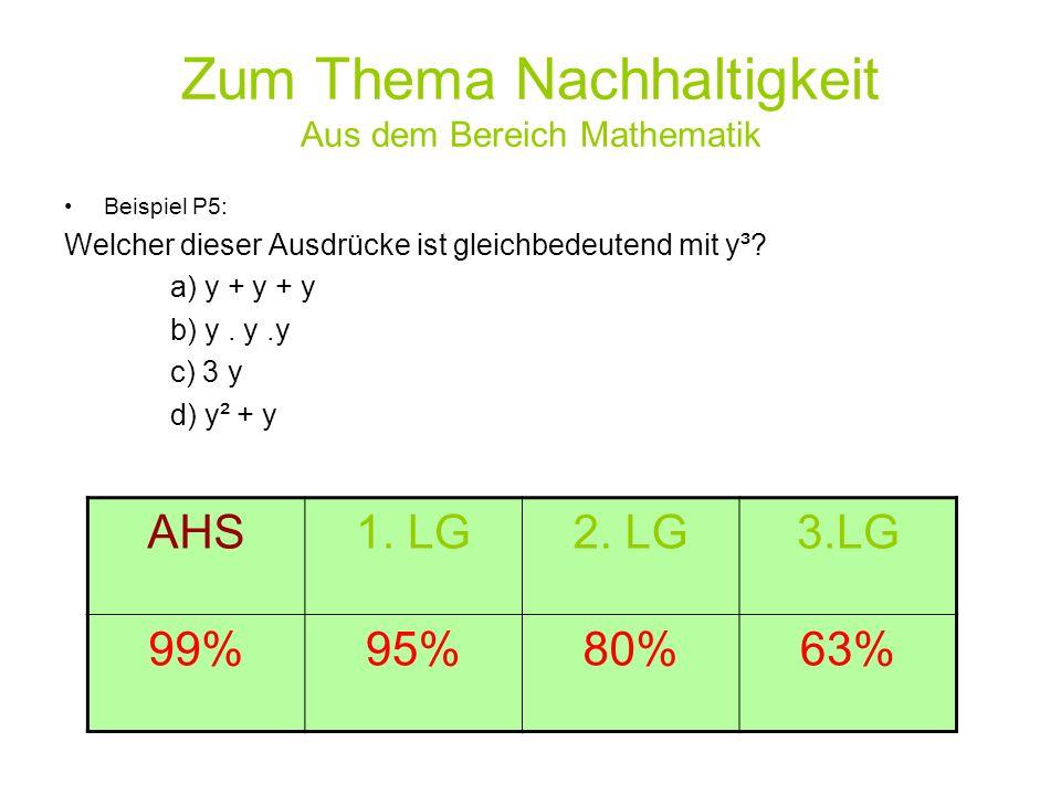Zum Thema Nachhaltigkeit Aus dem Bereich Mathematik Beispiel P5: Welcher dieser Ausdrücke ist gleichbedeutend mit y³? a) y + y + y b) y. y.y c) 3 y d)