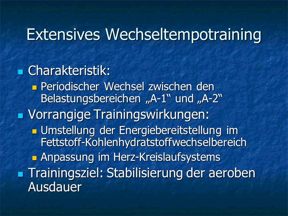 Extensives Wechseltempotraining Charakteristik: Charakteristik: Periodischer Wechsel zwischen den Belastungsbereichen A-1 und A-2 Periodischer Wechsel