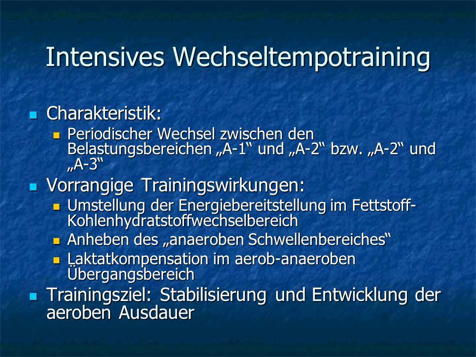 Intensives Wechseltempotraining Charakteristik: Charakteristik: Periodischer Wechsel zwischen den Belastungsbereichen A-1 und A-2 bzw. A-2 und A-3 Per