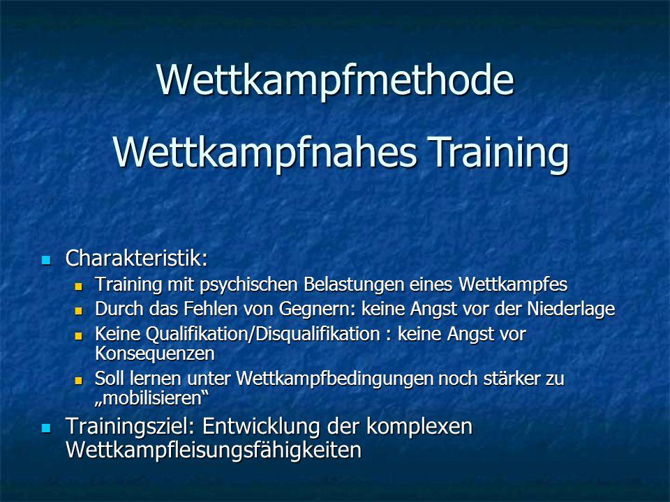 Wettkampfmethode Charakteristik: Charakteristik: Training mit psychischen Belastungen eines Wettkampfes Training mit psychischen Belastungen eines Wet