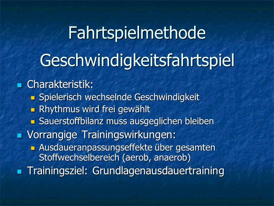 Fahrtspielmethode Geschwindigkeitsfahrtspiel Charakteristik: Charakteristik: Spielerisch wechselnde Geschwindigkeit Spielerisch wechselnde Geschwindig