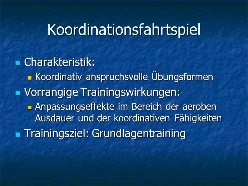 Koordinationsfahrtspiel Charakteristik: Charakteristik: Koordinativ anspruchsvolle Übungsformen Koordinativ anspruchsvolle Übungsformen Vorrangige Tra